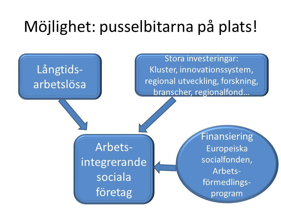 Möjlighet: pusselbitarna på plats! Stora investeringar: Kluster, innovationssystem, regional utveckling, forskning, branscher, regionalfond… Arbets- i