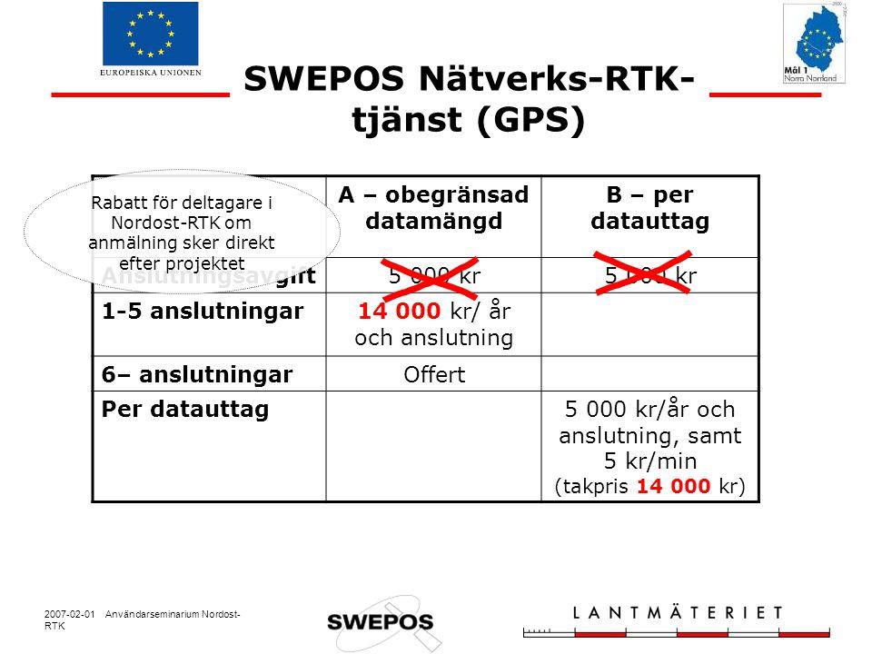 2007-02-01 Användarseminarium Nordost- RTK SWEPOS Nätverks-RTK- tjänst (GPS) A – obegränsad datamängd B – per datauttag Anslutningsavgift5 000 kr 1-5 anslutningar14 000 kr/ år och anslutning 6– anslutningarOffert Per datauttag5 000 kr/år och anslutning, samt 5 kr/min (takpris 14 000 kr) Rabatt för deltagare i Nordost-RTK om anmälning sker direkt efter projektet