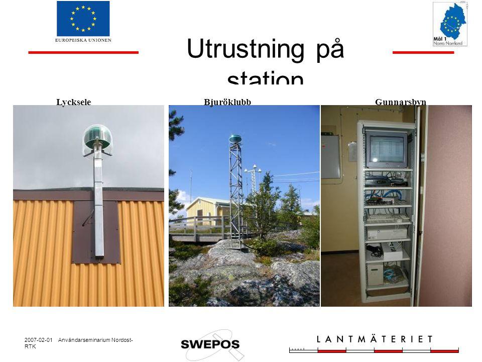 2007-02-01 Användarseminarium Nordost- RTK Avvikelse i plan och höjd, sorterat Plan [mm] Höjd [mm] 95 % 18 43 99 % 20 53 68 % 10 22