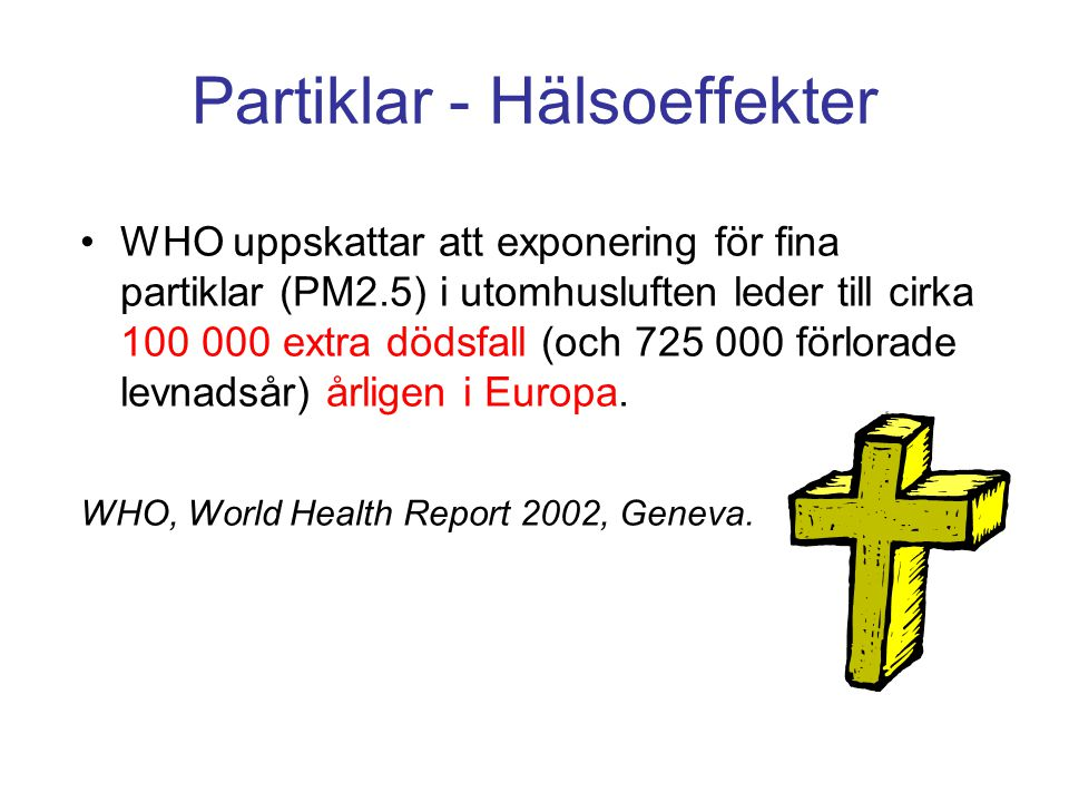 Viktigaste luftföroreningarna ur hälsosynpunkt Partiklar, PM 10 Finns norm (fr 2005) Ozon, O 3 Mål Kvävedioxid, NO 2 Finns norm (fr 2006) Bensen, C 6 H 6 Finns norm (fr 2010) Benso[a]pyren, BaPFörslag PAHFörslag Tungmetaller (Cd, Pb, Cu, Hg, As, Cr) Förslag (Pb norm) Flyktiga kolväten, VOCMål för utsläppen Kolmonoxid, COFinns norm Svaveldioxid, SO 2 Finns norm