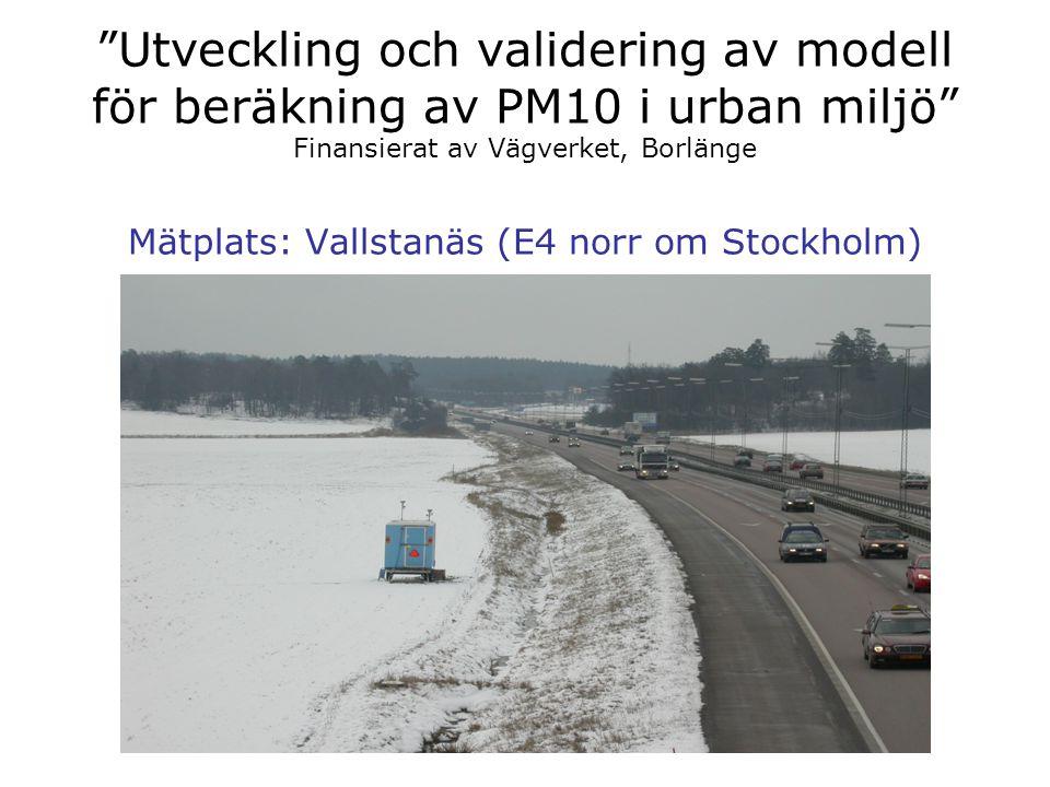 """""""Utveckling och validering av modell för beräkning av PM10 i urban miljö"""" Finansierat av Vägverket, Borlänge Mätplats: Vallstanäs (E4 norr om Stockhol"""