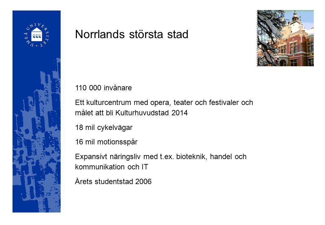 Starka forskningsområden vid Umeå universitet Den åldrande befolkningen Nordliga rummet Genusforskning Matematikdidaktik Välfärdsforskning Biologisk kemi Ekosystemvetenskap Växt- och skogsbioteknik Cancerforskning Nervsystemets funktioner och sjukdomar Metabola sjukdomar Mikrobiell patogenes
