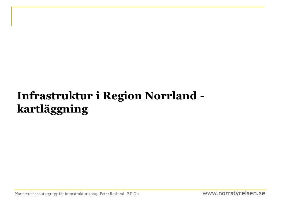 www.norrstyrelsen.se Norrstyrelsens styrgrupp för infrastruktur 2009, Peter Roslund BILD 1 Infrastruktur i Region Norrland - kartläggning