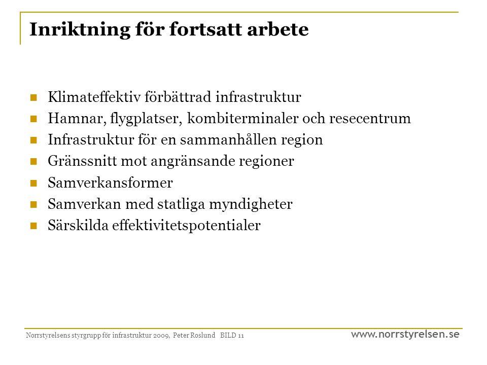 www.norrstyrelsen.se Norrstyrelsens styrgrupp för infrastruktur 2009, Peter Roslund BILD 11 Inriktning för fortsatt arbete Klimateffektiv förbättrad i