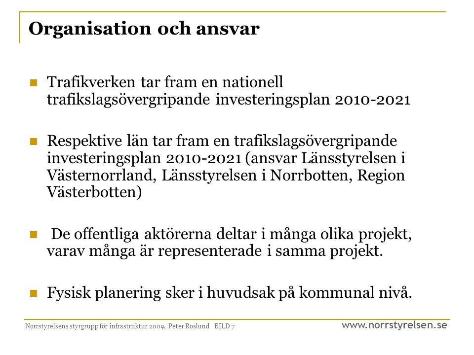 www.norrstyrelsen.se Norrstyrelsens styrgrupp för infrastruktur 2009, Peter Roslund BILD 7 Organisation och ansvar Trafikverken tar fram en nationell