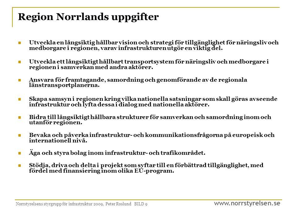 www.norrstyrelsen.se Norrstyrelsens styrgrupp för infrastruktur 2009, Peter Roslund BILD 9 Region Norrlands uppgifter Utveckla en långsiktig hållbar v