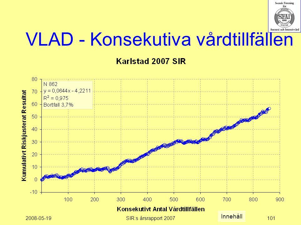 2008-05-19SIR:s årsrapport 2007101 VLAD - Konsekutiva vårdtillfällen Innehåll