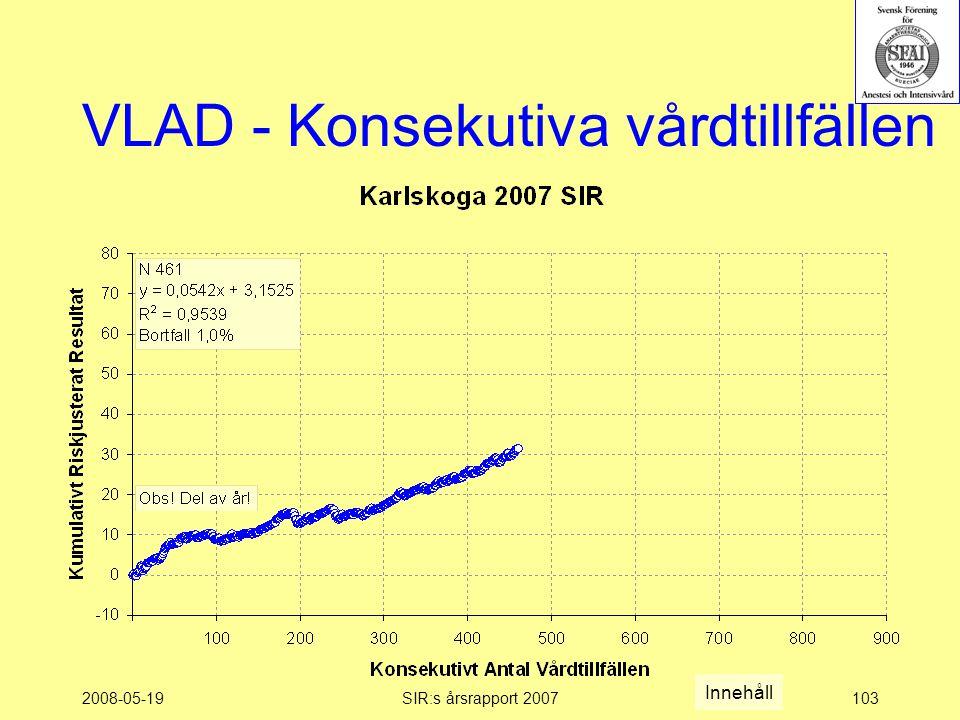 2008-05-19SIR:s årsrapport 2007103 VLAD - Konsekutiva vårdtillfällen Innehåll