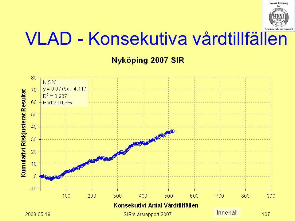 2008-05-19SIR:s årsrapport 2007107 VLAD - Konsekutiva vårdtillfällen Innehåll