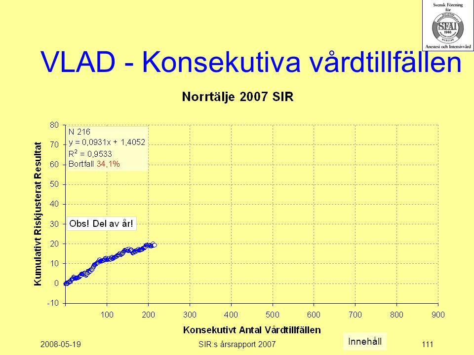 2008-05-19SIR:s årsrapport 2007111 VLAD - Konsekutiva vårdtillfällen Innehåll