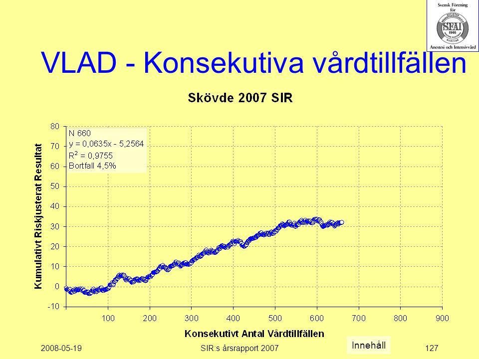 2008-05-19SIR:s årsrapport 2007127 VLAD - Konsekutiva vårdtillfällen Innehåll