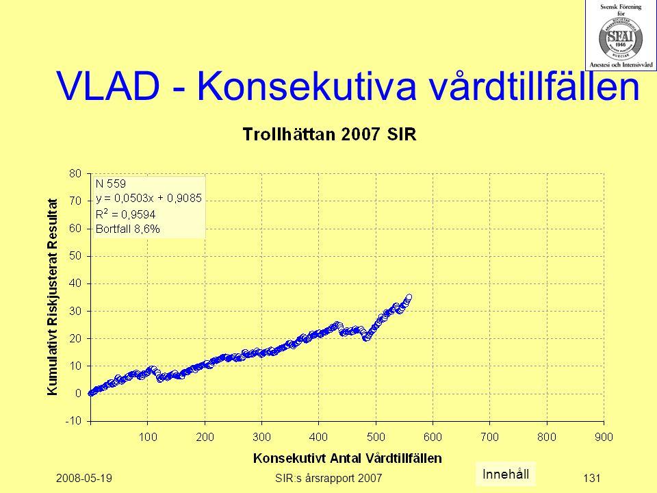 2008-05-19SIR:s årsrapport 2007131 VLAD - Konsekutiva vårdtillfällen Innehåll