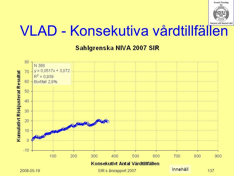 2008-05-19SIR:s årsrapport 2007137 VLAD - Konsekutiva vårdtillfällen Innehåll