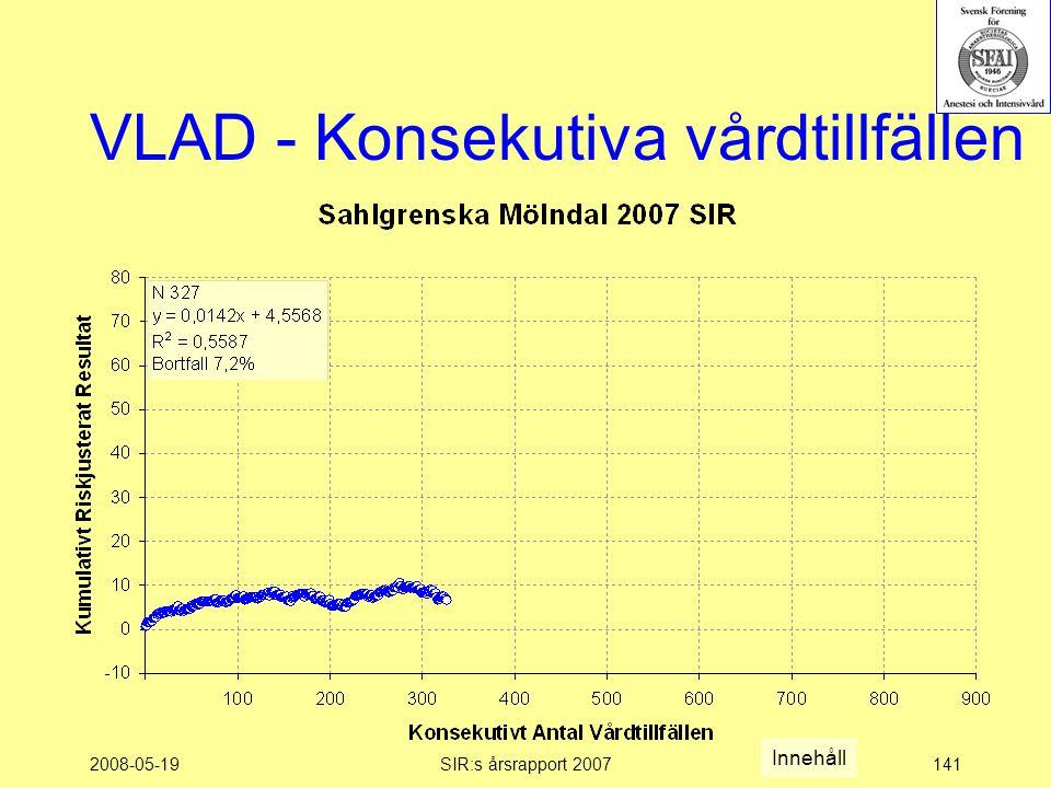 2008-05-19SIR:s årsrapport 2007141 VLAD - Konsekutiva vårdtillfällen Innehåll