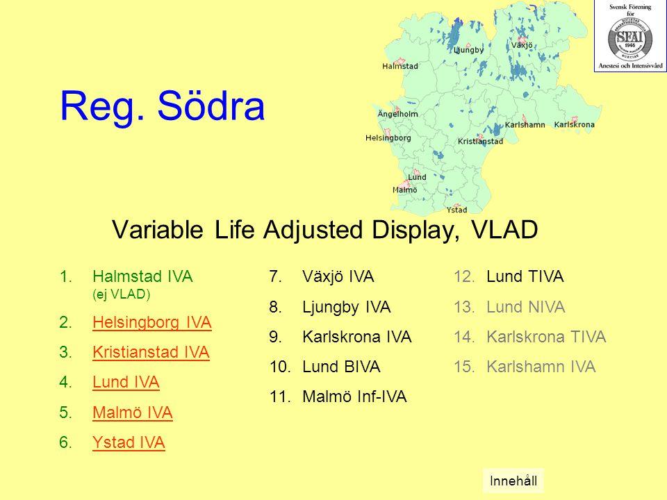 Variable Life Adjusted Display, VLAD 1.Halmstad IVA (ej VLAD) 2.Helsingborg IVAHelsingborg IVA 3.Kristianstad IVAKristianstad IVA 4.Lund IVALund IVA 5.Malmö IVAMalmö IVA 6.Ystad IVAYstad IVA Reg.