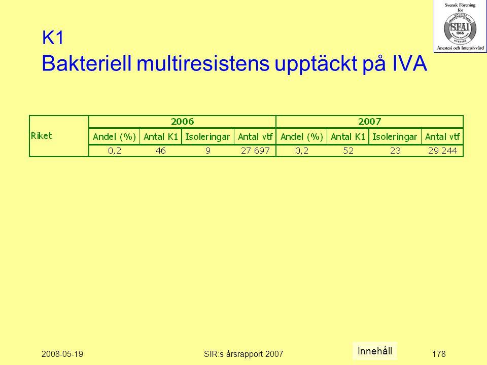 2008-05-19SIR:s årsrapport 2007178 Bakteriell multiresistens upptäckt på IVA K1 Innehåll