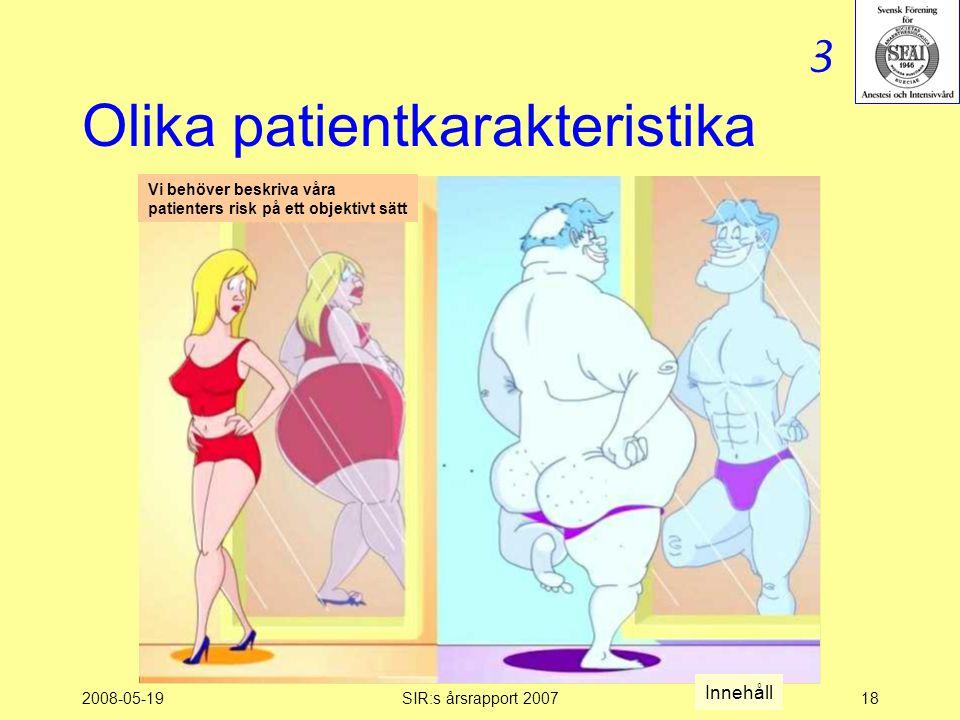2008-05-19SIR:s årsrapport 200718 Olika patientkarakteristika Vi behöver beskriva våra patienters risk på ett objektivt sätt 3 Innehåll