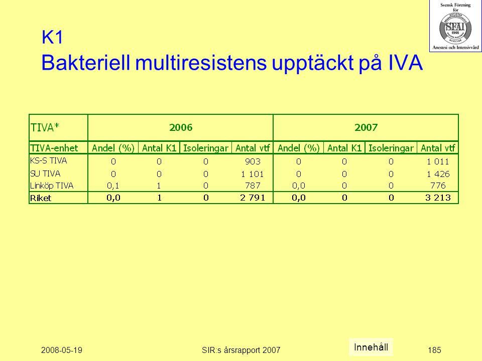 2008-05-19SIR:s årsrapport 2007185 Bakteriell multiresistens upptäckt på IVA K1 Innehåll