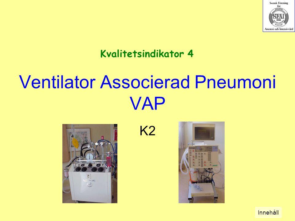 Ventilator Associerad Pneumoni VAP K2 Kvalitetsindikator 4 Innehåll