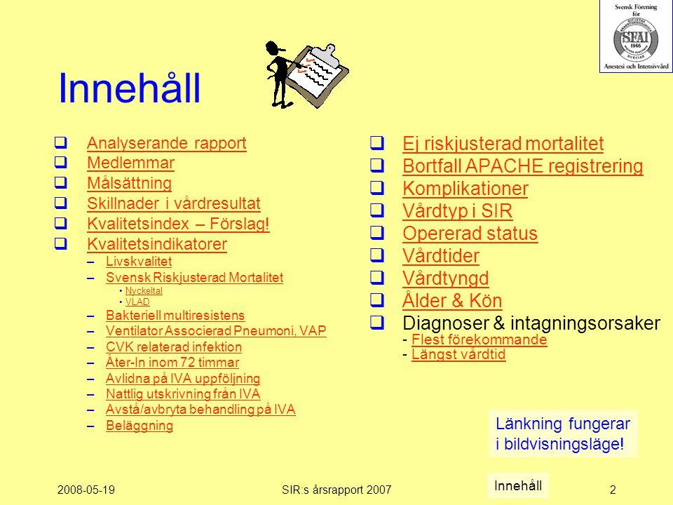 2008-05-19SIR:s årsrapport 20072 Innehåll  Analyserande rapport Analyserande rapport  Medlemmar Medlemmar  Målsättning Målsättning  Skillnader i vårdresultat Skillnader i vårdresultat  Kvalitetsindex – Förslag.
