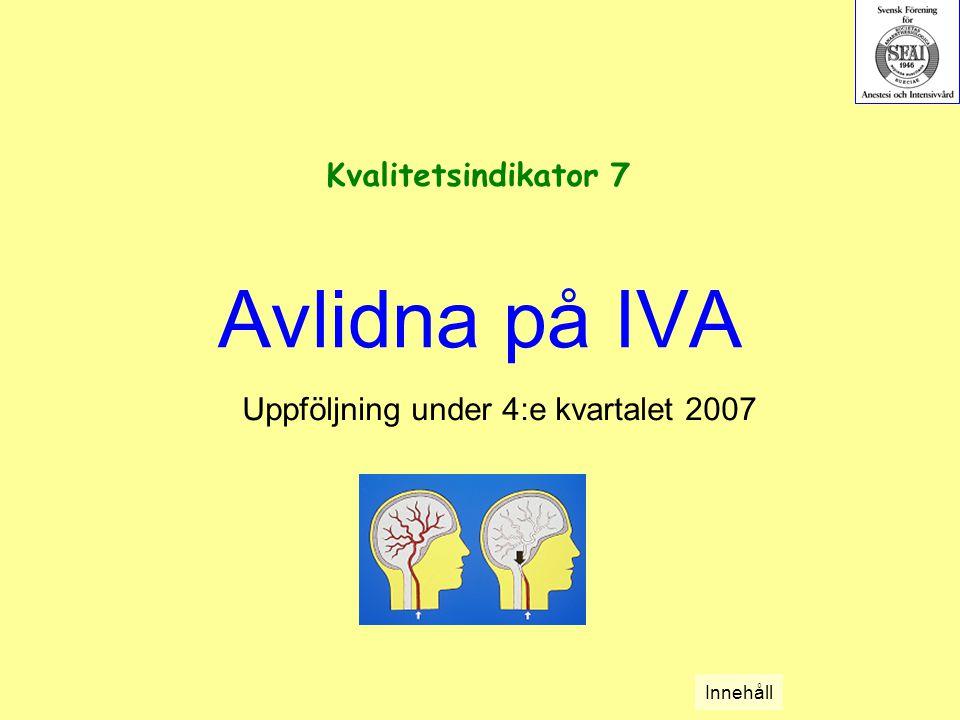 Avlidna på IVA Uppföljning under 4:e kvartalet 2007 Kvalitetsindikator 7 Innehåll