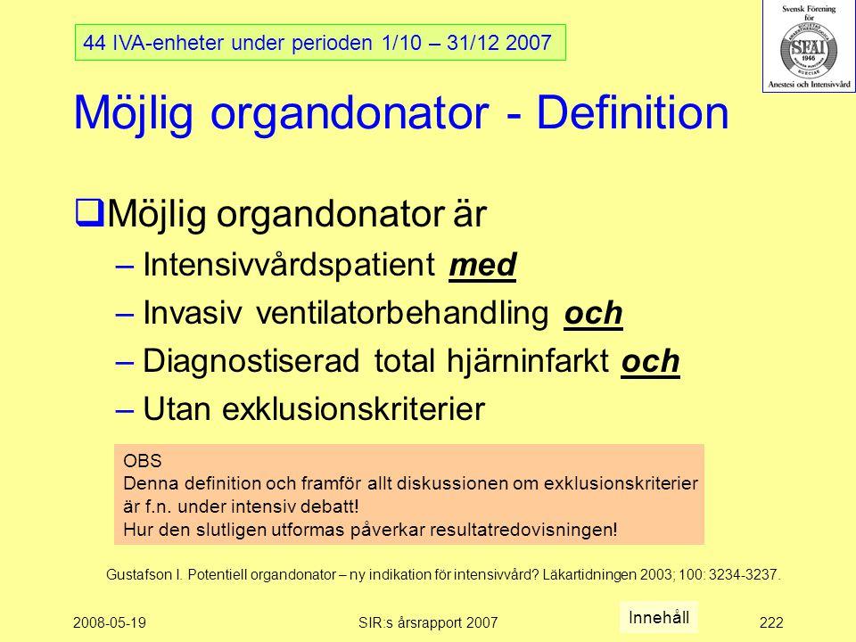 2008-05-19SIR:s årsrapport 2007222 Möjlig organdonator - Definition  Möjlig organdonator är –Intensivvårdspatient med –Invasiv ventilatorbehandling och –Diagnostiserad total hjärninfarkt och –Utan exklusionskriterier 44 IVA-enheter under perioden 1/10 – 31/12 2007 Gustafson I.