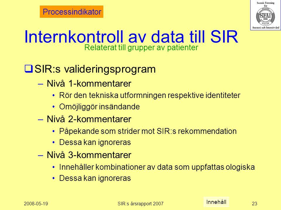2008-05-19SIR:s årsrapport 200723 Internkontroll av data till SIR  SIR:s valideringsprogram –Nivå 1-kommentarer Rör den tekniska utformningen respektive identiteter Omöjliggör insändande –Nivå 2-kommentarer Påpekande som strider mot SIR:s rekommendation Dessa kan ignoreras –Nivå 3-kommentarer Innehåller kombinationer av data som uppfattas ologiska Dessa kan ignoreras Relaterat till grupper av patienter Processindikator Innehåll