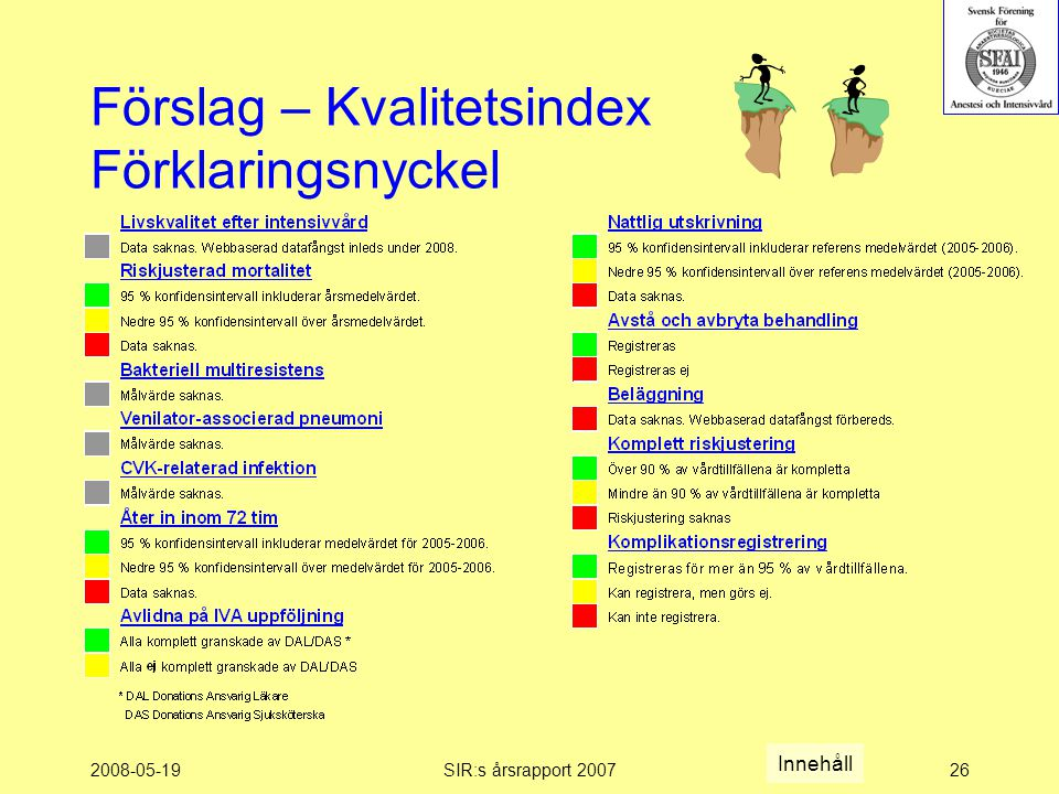 2008-05-19SIR:s årsrapport 200726 Förslag – Kvalitetsindex Förklaringsnyckel Innehåll