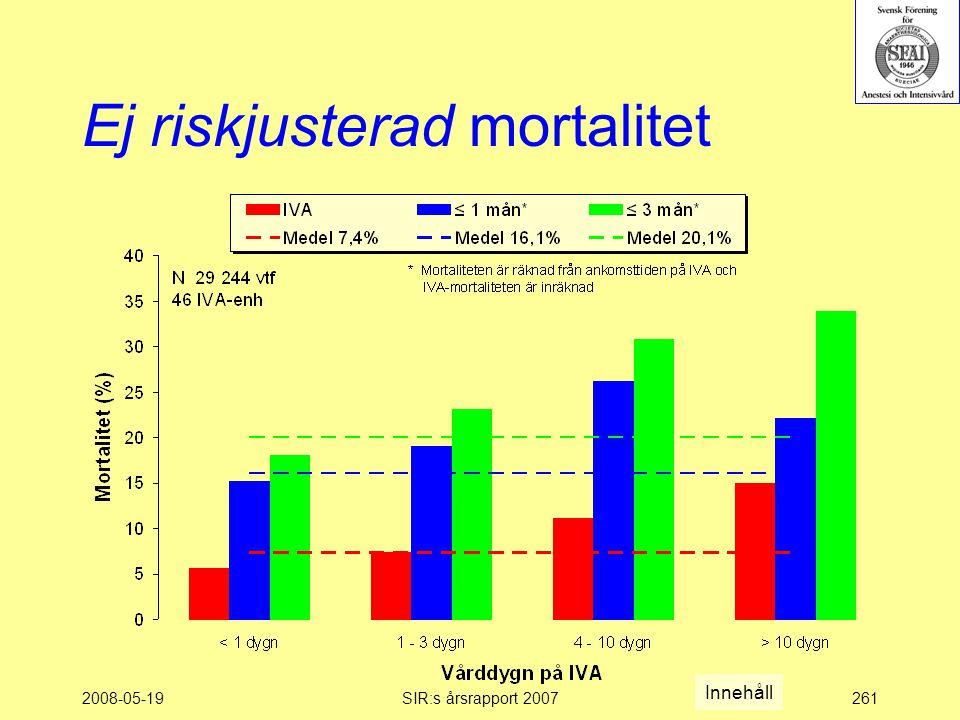 2008-05-19SIR:s årsrapport 2007261 Ej riskjusterad mortalitet Innehåll