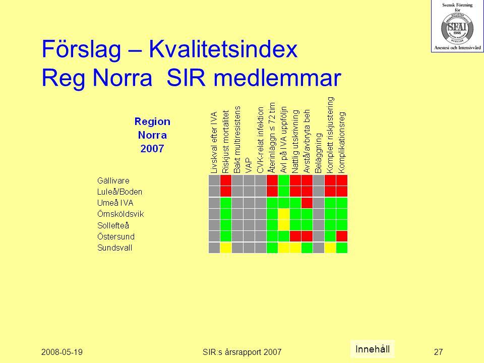 2008-05-19SIR:s årsrapport 200727 Förslag – Kvalitetsindex Reg Norra SIR medlemmar Innehåll