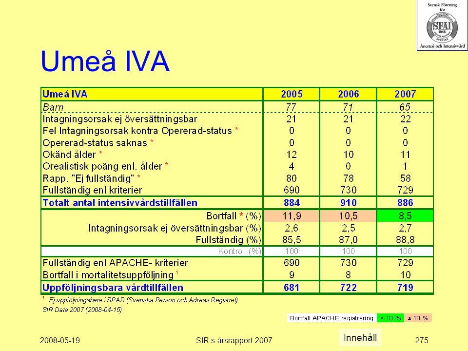 2008-05-19SIR:s årsrapport 2007275 Umeå IVA Innehåll