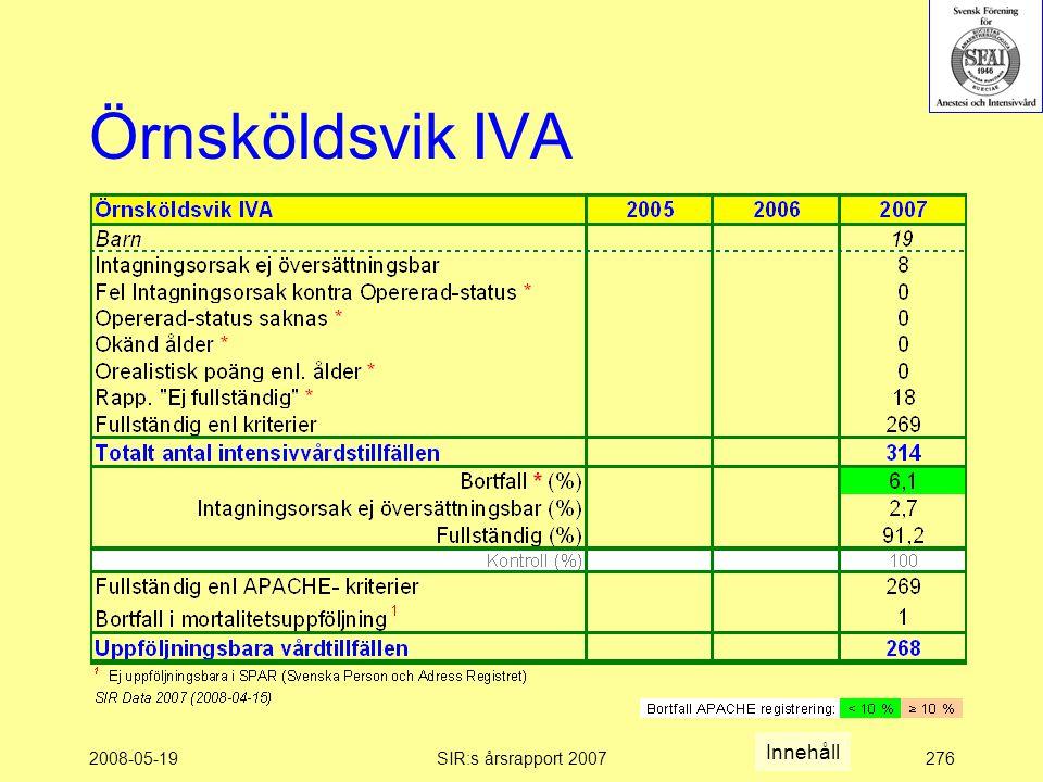 2008-05-19SIR:s årsrapport 2007276 Örnsköldsvik IVA Innehåll
