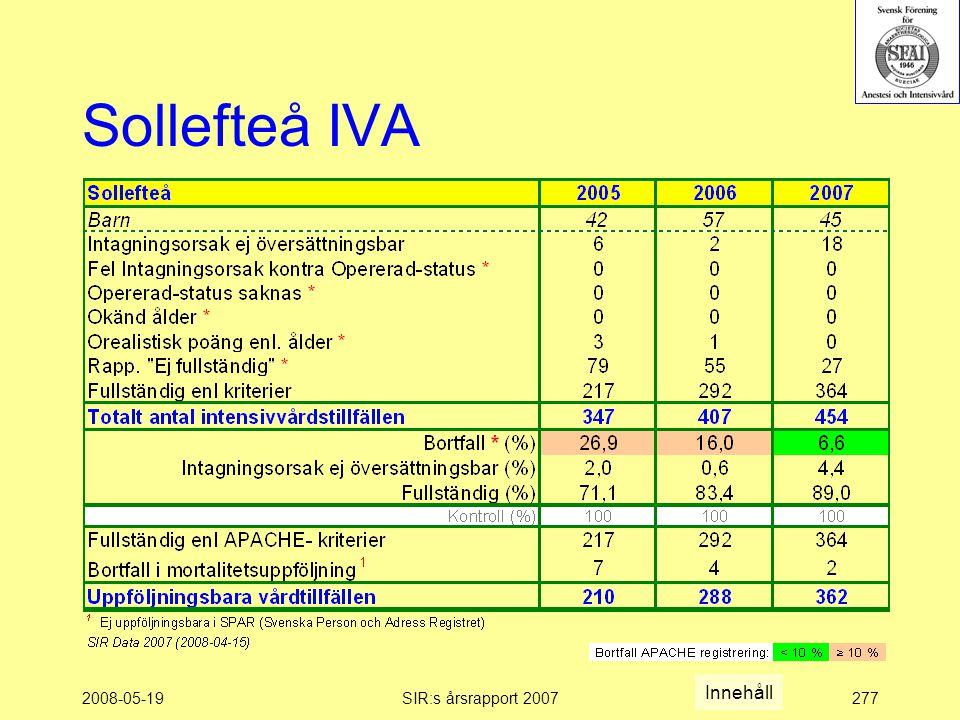 2008-05-19SIR:s årsrapport 2007277 Sollefteå IVA Innehåll