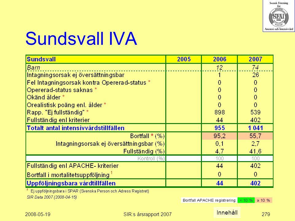 2008-05-19SIR:s årsrapport 2007279 Sundsvall IVA Innehåll