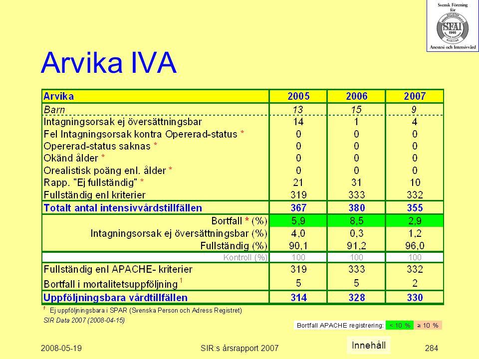 2008-05-19SIR:s årsrapport 2007284 Arvika IVA Innehåll