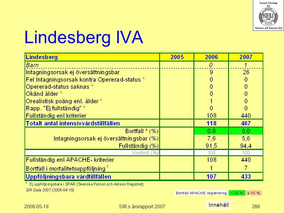 2008-05-19SIR:s årsrapport 2007286 Lindesberg IVA Innehåll