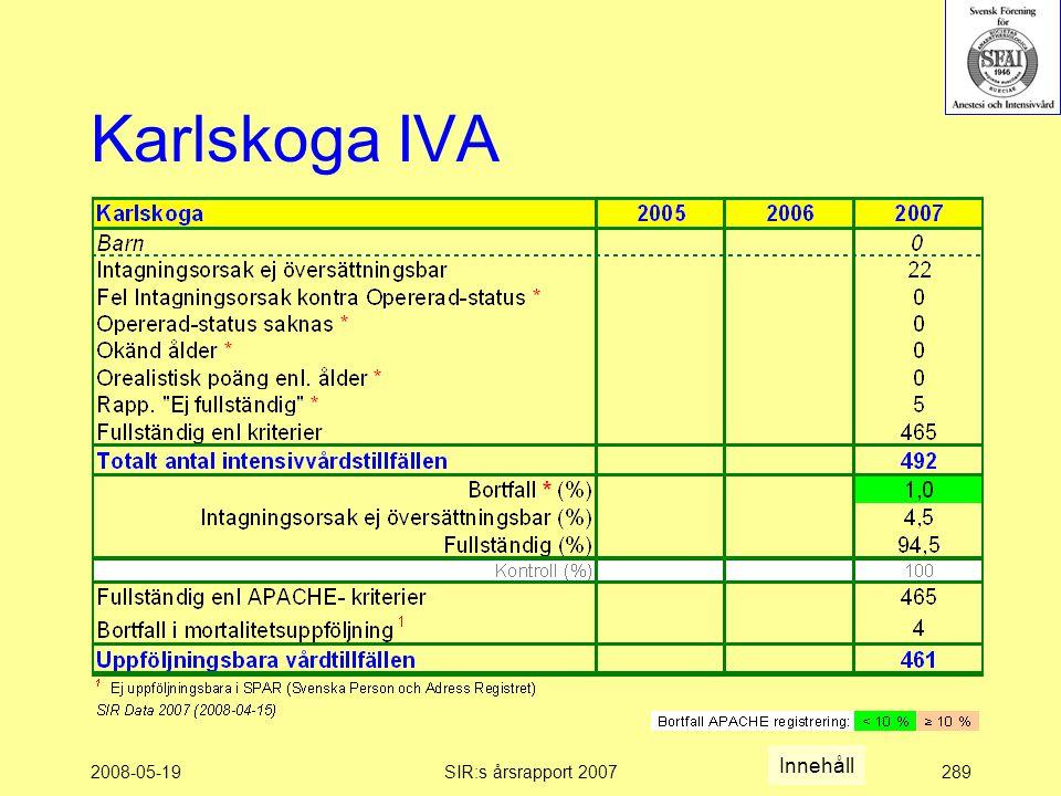 2008-05-19SIR:s årsrapport 2007289 Karlskoga IVA Innehåll