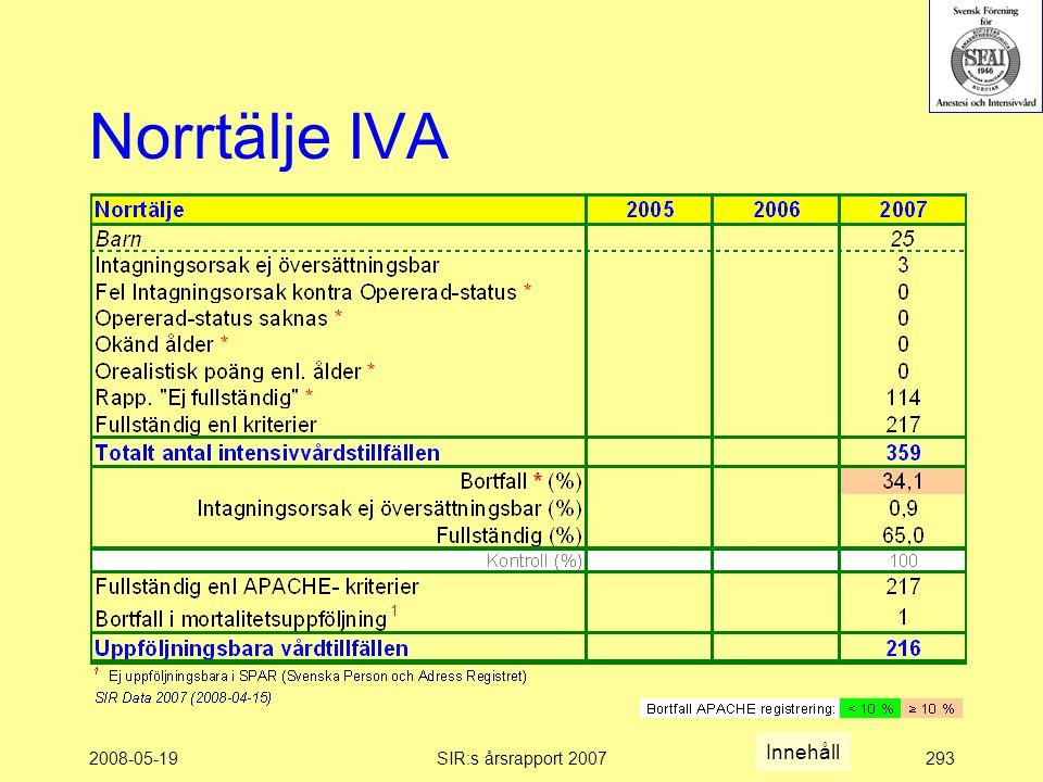 2008-05-19SIR:s årsrapport 2007293 Norrtälje IVA Innehåll