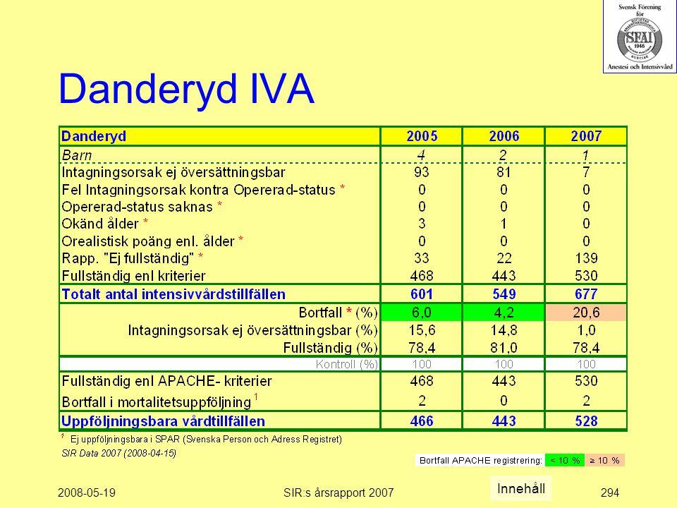 2008-05-19SIR:s årsrapport 2007294 Danderyd IVA Innehåll