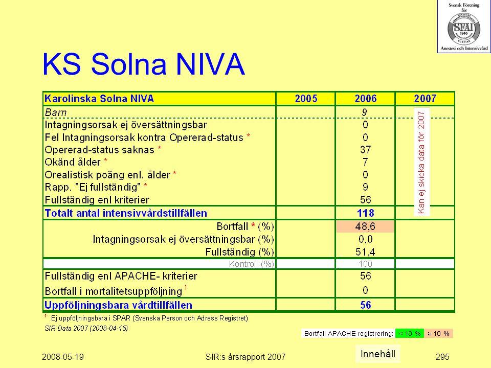 2008-05-19SIR:s årsrapport 2007295 KS Solna NIVA Innehåll