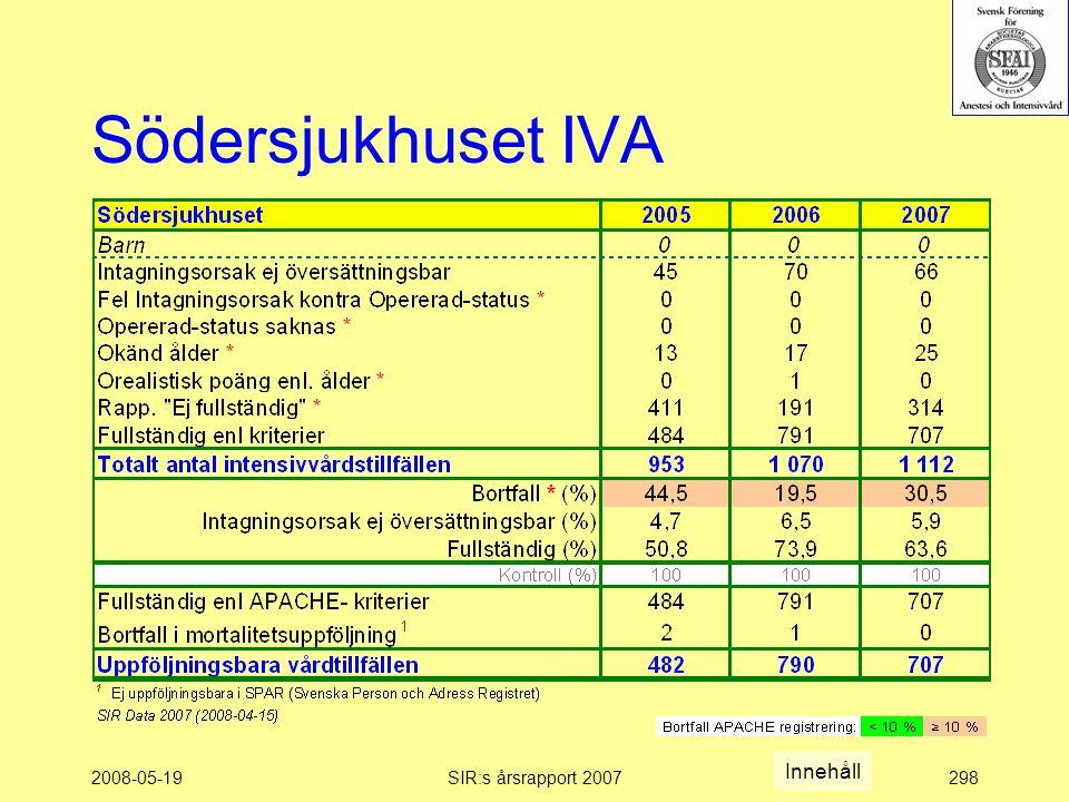 2008-05-19SIR:s årsrapport 2007298 Södersjukhuset IVA Innehåll