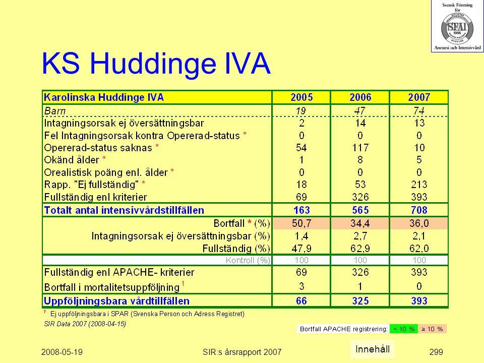 2008-05-19SIR:s årsrapport 2007299 KS Huddinge IVA Innehåll