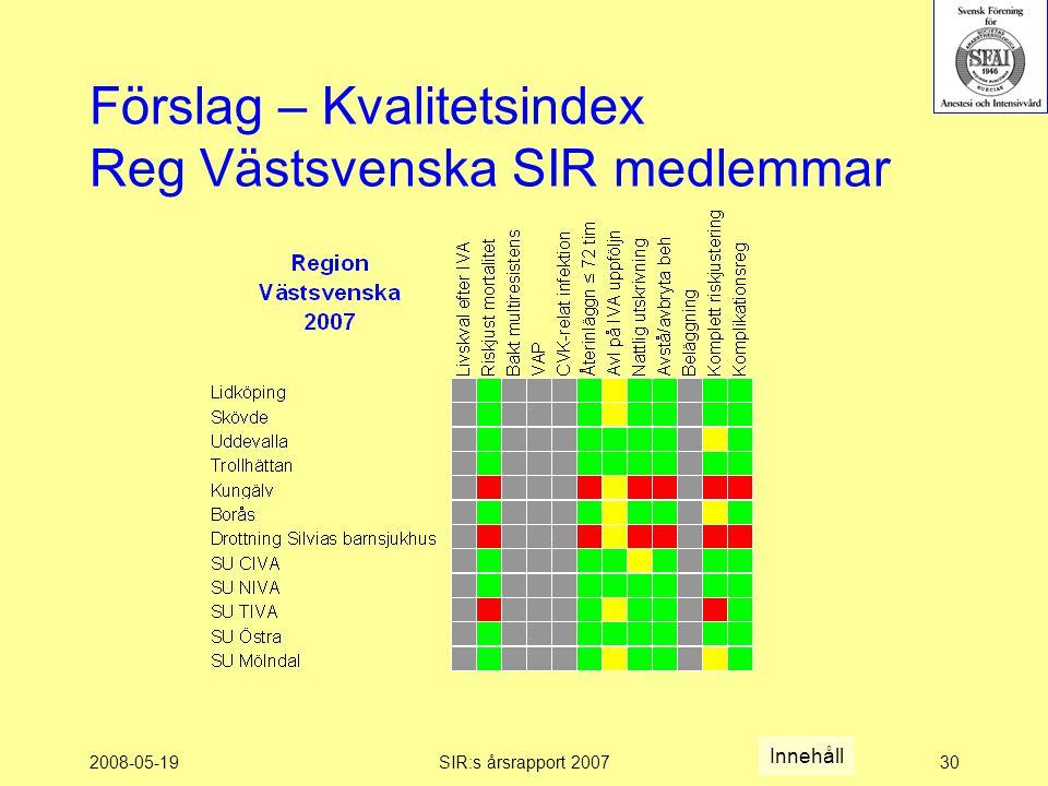 2008-05-19SIR:s årsrapport 200730 Förslag – Kvalitetsindex Reg Västsvenska SIR medlemmar Innehåll