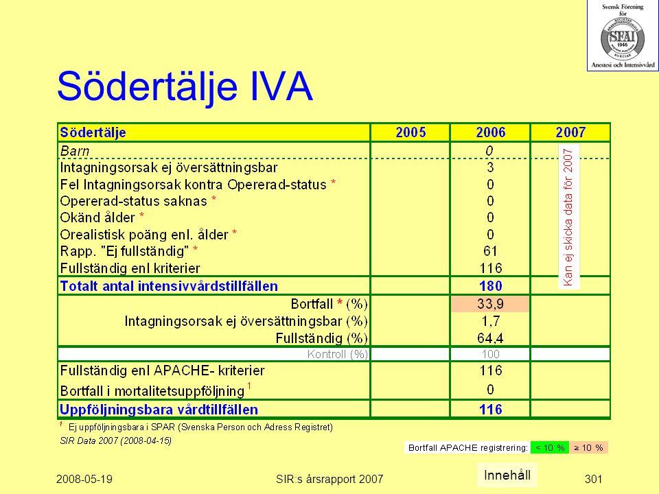 2008-05-19SIR:s årsrapport 2007301 Södertälje IVA Innehåll