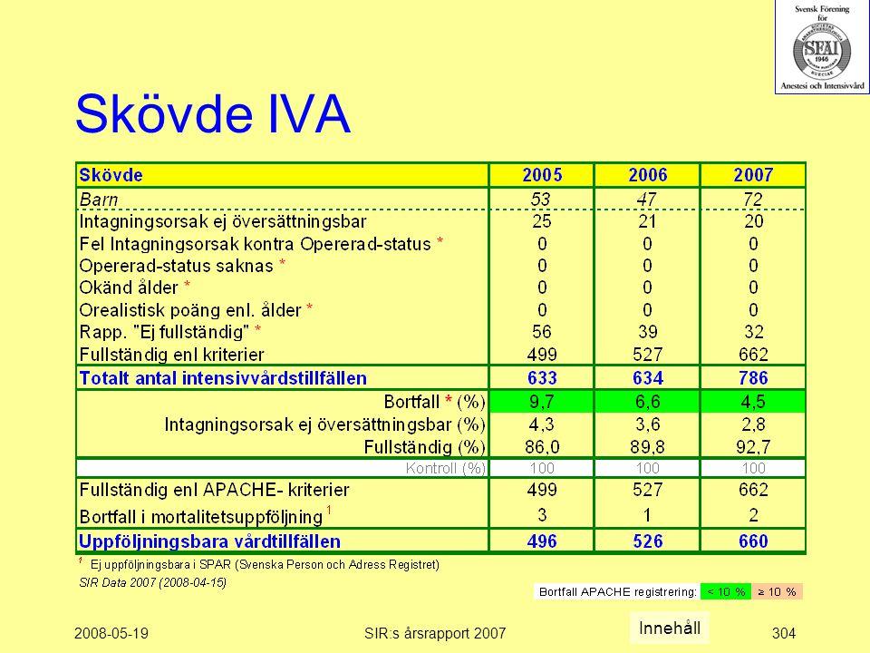2008-05-19SIR:s årsrapport 2007304 Skövde IVA Innehåll