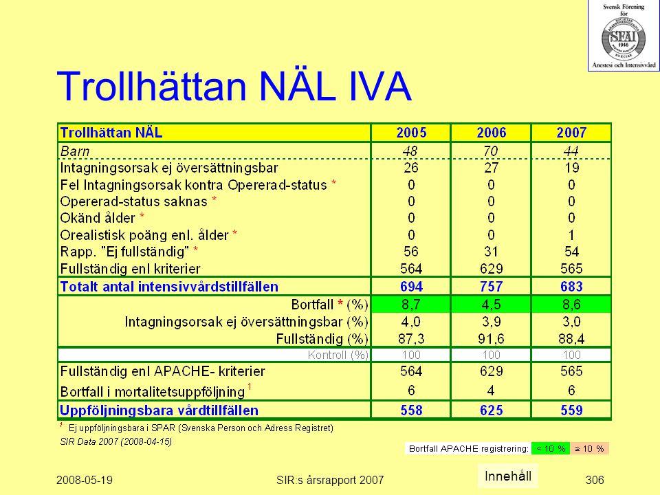 2008-05-19SIR:s årsrapport 2007306 Trollhättan NÄL IVA Innehåll
