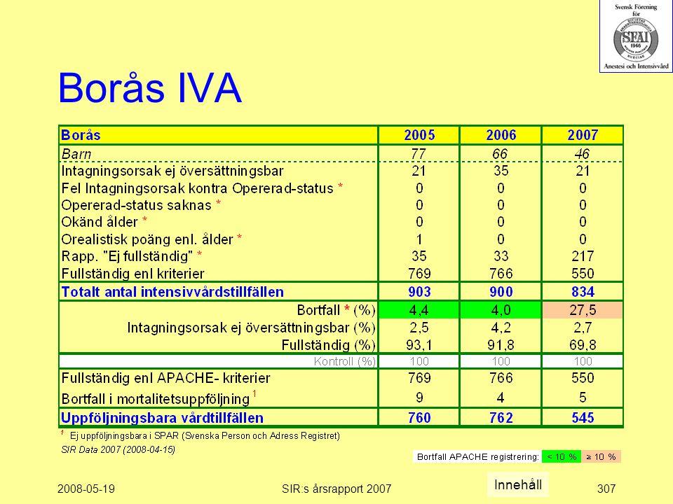 2008-05-19SIR:s årsrapport 2007307 Borås IVA Innehåll