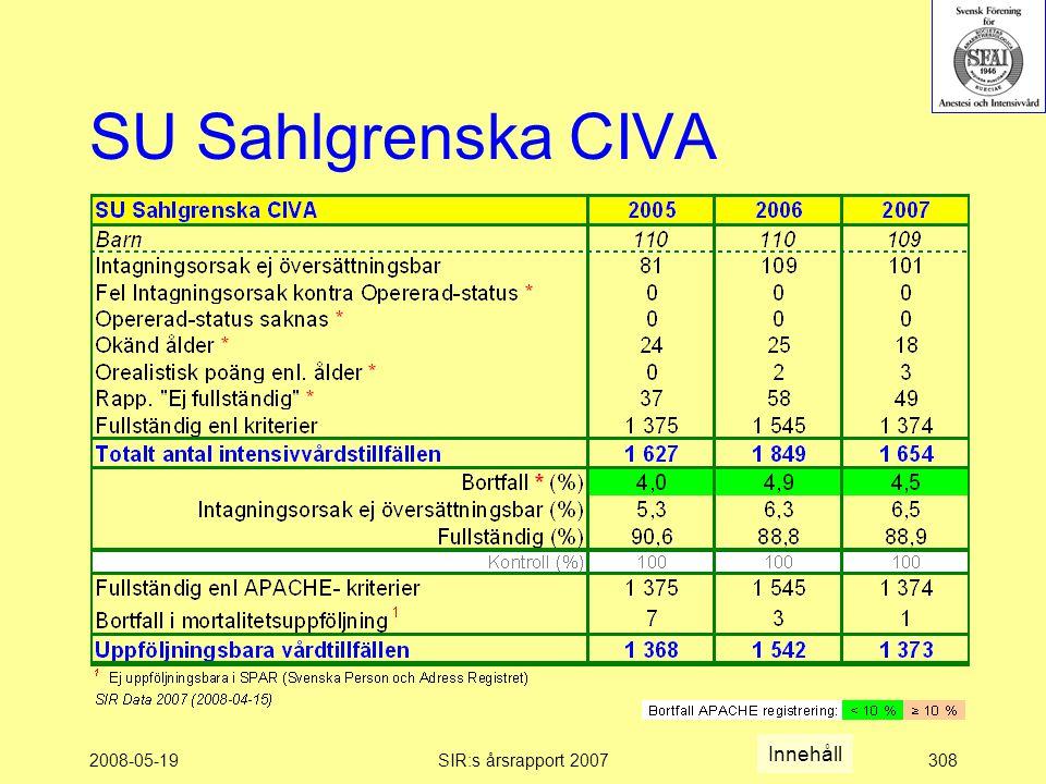 2008-05-19SIR:s årsrapport 2007308 SU Sahlgrenska CIVA Innehåll
