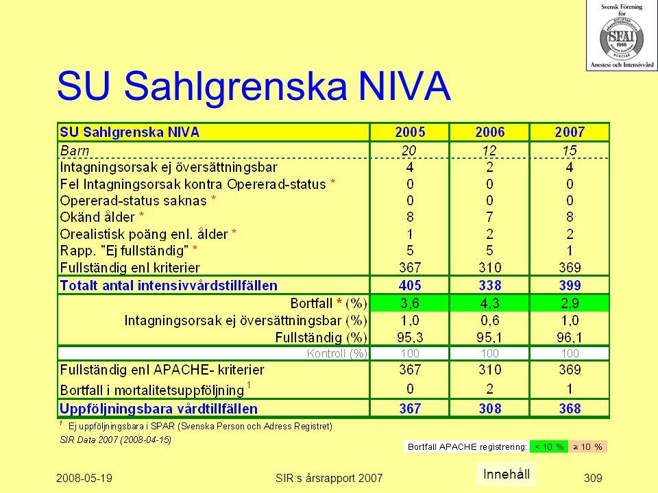 2008-05-19SIR:s årsrapport 2007309 SU Sahlgrenska NIVA Innehåll