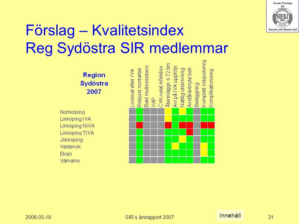 2008-05-19SIR:s årsrapport 200731 Förslag – Kvalitetsindex Reg Sydöstra SIR medlemmar Innehåll